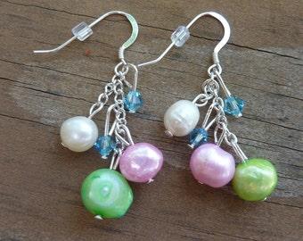 Freshwater Pearl Cluster Earrings, Pearl Bridal Earrings, Pearl and Crystal Earrings, Asymmetrical Earrings, Pastel Pearl Earrings