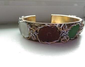 Bracelet #Cuff #Genuine #Sea #Glass #Green #Topez #White #Gold/Silver #Nautical #Wirewrapped #earthseaecojewelry #Bracelet #Cuff