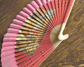 vintage wood and fabric spanish fan