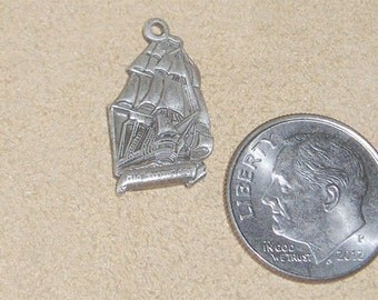 Vintage Sterling Silver U.S.S. Constitution Tall Ship Charm Or Pendant Old Iron Sides 1970's Signed Jewelry 2003