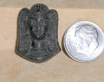 Vintage Gutta Percha Egyptian Pharaoh Face Tut Circa 1900 Jewelry 6081