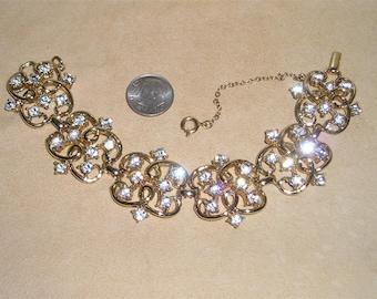 Vintage Signed Coro Clear Rhinestone Bracelet 1950's Jewelry H38