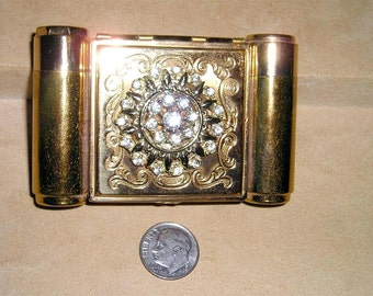 Vintage Majestic Rhinestone Compact With Lipstick Holder And Perfume Flask 1940's Signed Jewelry 7012