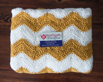 Mustard and White Chevron Afghan