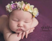 Newborn Flower Halo  Newborn Flroral Crown Flower Crown Floral Halo Newborn Floral Head Piece
