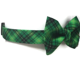 St. Patty's Plaid Bow Tie Dog Collar size Large