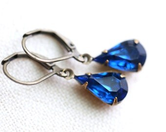 Blue Vintage Crystal Teardrop Earrings, Antique Brass Earrings, Vintage Blue Crystal Earrings, Capri Blue Cobalt Earrings, Indigo Earrings