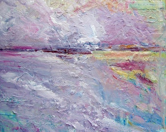 """Abstract Painting  Acrylic on Gesso Board 12""""x12"""" Sunrise Abstract Seascape Original Art  CarlottasArt"""