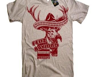 Feliz Navidad T-Shirt Señor Reindeer Funny Christmas Tshirts Sombrero and Mustache Funny Hispanic Shirt Holiday Tshirts Christmas Gift Tees