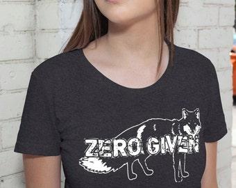 Zero Fox Given T-Shirt Womens Fox Tshirt - American Apparel T shirt tee - S M L XL