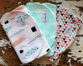 Baby Girl Burp Cloths - Feathers, Arrows, Triangles - Set of 3 - Coral, Peach, Mint, Black and Metallic Gold