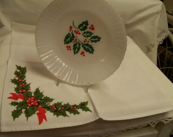 Vintage Christmas Bowls Termocrisa Made in Mexico Mexico Holly Design 7""