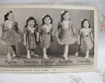Dionne Quintuplets Postcard Choice of 2 Different Circa 1930s Canadian Quints Identical Girls Famous 1930s Quintuplets