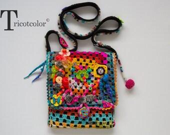 Sac à bandoulière crochet main Tricotcolor