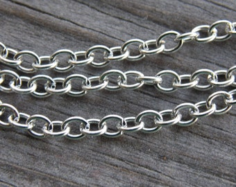 32 feet Antiqued Silver Cable Chain 3.5mmx2.5mm Links 10 meters Nickel Free