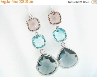 SALE Gray Earrings, Peach Earrings, Aquamarine, Aqua, Glass, Silver, Bridesmaid Jewelry, Bridesmaid Earrings, Bridal Jewelry, Bridesmaid Gif