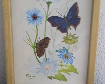 SALE!! Butterfly Painting Dated 1970