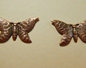 2 Antiqued Copper Ox Butterflies Butterfly Charms Charm Stampings One-Sided