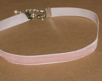 Light Pink Velvet Choker Necklace Handmade