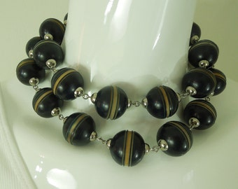 1970s Big Statement French Deco Style Carved Resin Wired Necklace
