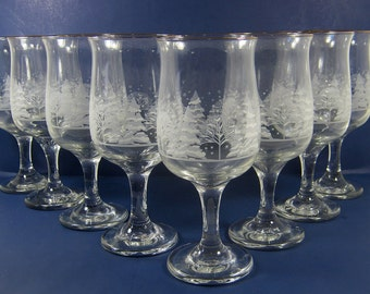 Vintage WINTER WiNE GOBLET Glass Set/8 Etched Frosted Tree Scene Stemware Barware Holiday Arbys