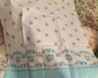 VINTAGE pair Standard like new pillowcases so shabby chic,  blue cabbage roses and lace