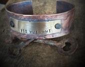 Men's Copper Bracelet, Roman Numeral Cuff Bracelet, Personalized Wide Copper Cuff, Mens Jewelry, Gift for Him, Unique Copper Cuff