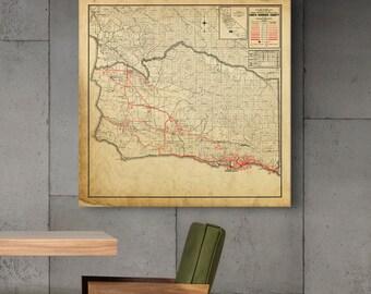 Santa Barbara Vintage Map Print & Canvas Wrap, Home Decor and Wall Art