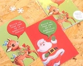 Pack of 10 Welsh Diolch Thank you Christmas Postcard Santa Reindeer