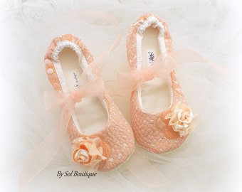Girl Ballet Flats, Peach, Blush, Flower Girl Shoes, Ballet Flats, Birthday Shoes, Toddler, Prom, Bat Mitzvah, Ballet Slippers, Elegant Flats