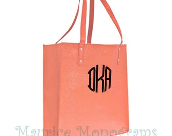 Personalized Coral Faux Leather Tote Bag - Great Purse, Beach Bag, or Shopping Bag. Great Bridesmaid Gift Includes Monogram
