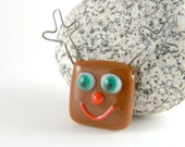 Rudolph, the red nose reindeer, emerald green eyes - fused glass holiday magnet (#7)
