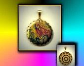 St Marina Patron Saint childbirth, pregnancy, kidney disease, nurses flat button CABOCHON in Brass Charm / Pendant