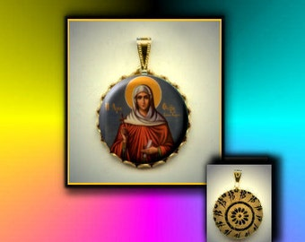 St PHOEBE First Female woman Church Deacon hand pressed flat button CABOCHON in Brass Charm / Pendant