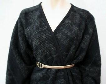 Black wool poncho, blanket poncho, mid length chunky wool poncho