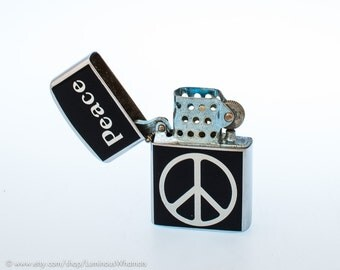 Working 1960s Peace Sign Windproof Pocket Lighter - New Old Stock