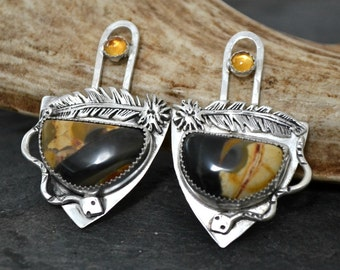 "Peanutwood and citrine artisan earrings.  ""sneaky snake"""