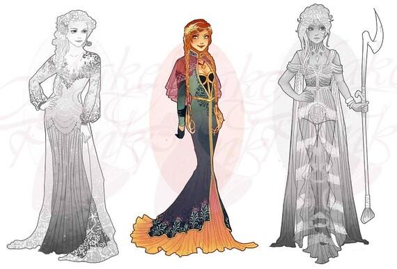 Anna, Frozen, Princess Mucha Style CROSS STITCH PATTERN Original Art by Hannah Alexander