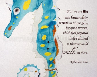Print of Watercolor painting seahorse with verse, watercolor artwork, seahorse wall decor, sea life drawing, Bible verse art, nautical decor