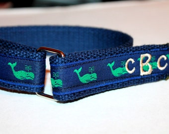 Whale Velcro D Ring Belt Preppy Monogram or Name Optional