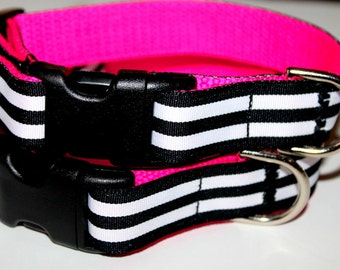 Black Dog Collar Matching Leash Pink and Black Leash and Collar Set Hot Pink Dog Collar Girls Dog Collar Spring Collar Girl Pet Collar