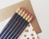 Mom loves me more engraved personalized pencils in dark violet