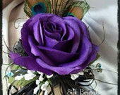 Purple plum PEACOCK feather wrist corsage rose bridal bride silk wedding flowers black regency mother MOB MOG bookkeeper prom