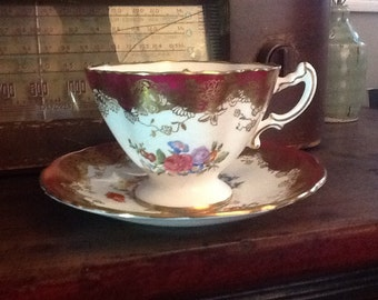 Vintage 1920's Hammersley Bone China Teacup and Saucer Burgendy with floral and gold accents