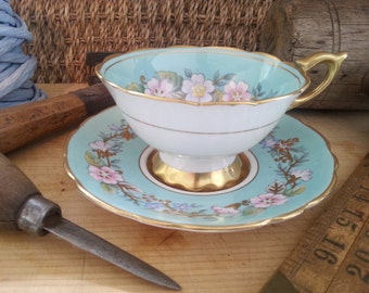 Vintage Rare Royal Stafford Tea cup & saucer, Garland series, Raised gold accents, Blue, Made in England