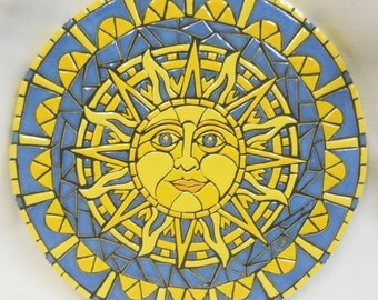 "Original Mosaic Wall Art Handmade Ceramic Tile  "" Sun"" 16"""