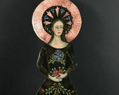 Our Lady of Sorrows Standing Retablo on Copper