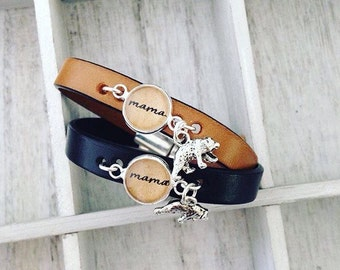 Mama Bear Leather Bracelet. Choose Bracelet Color. Magnetic Clasp Premium Leather Bracelet.