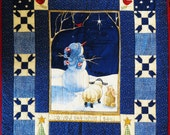 Daisy Kingdom, Christmas Snowman, Do You See What I See, Finished Wall Quilt or Throw, Handmade, Hand Quilted, Holiday Decoration