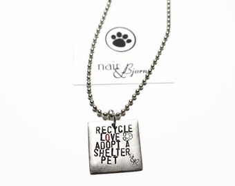 Recycle Love Necklace - Animal rescue, rescue jewelry, animal adoption, doglovers, catlovers, animallovers, antique silver, adopt, rescue